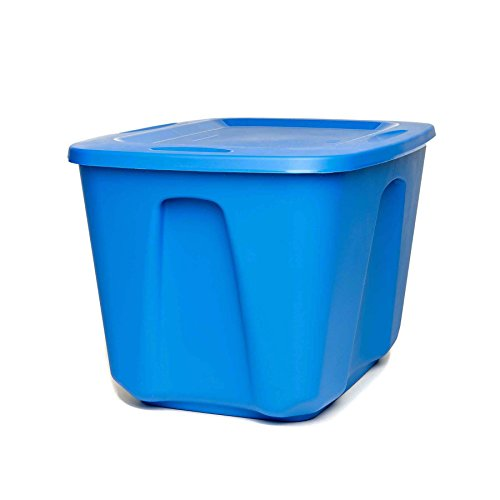 Homz Plastic Storage Tote with Lid, 18 Gallon, Blue, Stackable, 4-Pack