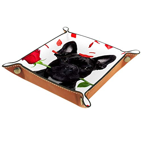 Mapotofux Women Girls Leather Square Dish Trinket Plate Jewelry Tray for Mothers Day Birthday Gift,French Bulldog Dog Crazy and Silly in Love