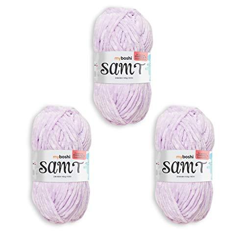 myboshi Häkel-und Strick-Wolle | Samt | Chenille Garn | Flauschige Wolle | 3er Pack-Knäuel | Einhorn - Flieder