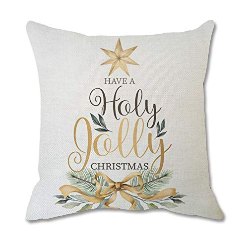 BBQQ Merry Christmas Printing Dyeing Sofa Bed Home Decor Pillow Case Cushion Cover, Christmas Decorations Tree Ornaments Skirt Topper Lights Pajamas for Family