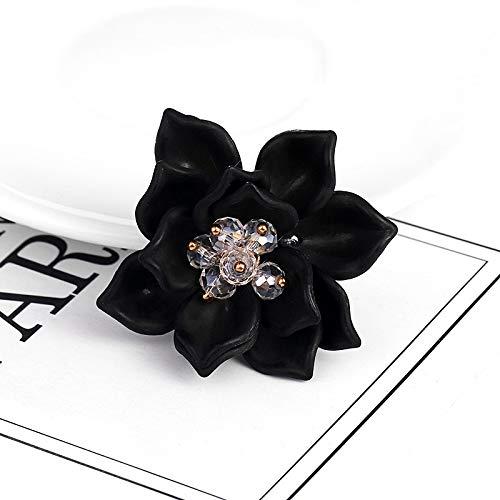 XKMY Pulsera de muñeca de ramillete de rosas de colores surtidos de plástico con broche de flor para dama de fiesta, accesorios de decoración (color metálico: negro)