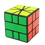 LinGo Cubo Mágico Abdominales Cubo En Forma De Abanico No Tóxico E Insípido Speed Cube Durable Cubo De Rompecabezas con Forma Especial para Navidad Regalo De Acción De Gracias Niños,Negro