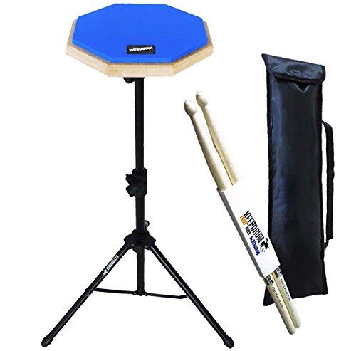 keepdrum DP-BL SET Practice Pad Blau mit Ständer und Tragetasche + Drumsticks1 Paar