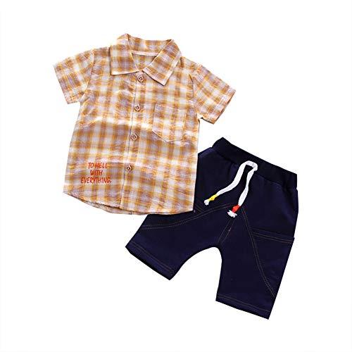 BOBORA Ensmeble Bébés Garçons Été, Polo Chemise T-Shirt à Carreaux à Manches Courtes et Pantalon Court