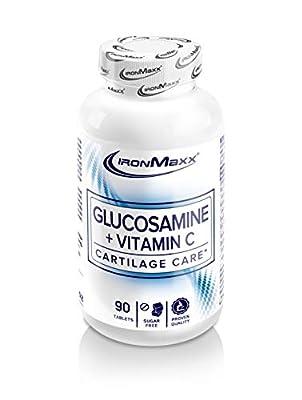 IronMaxx Glucosamin + Vitamin C - 90 Kapseln - Hochdosiert, 1000mg je Tablette - 12mg Vitamin C pro Tablette - Vitamin C trägt zu einem normalen Energiestoffwechsel bei - Designed in Germany