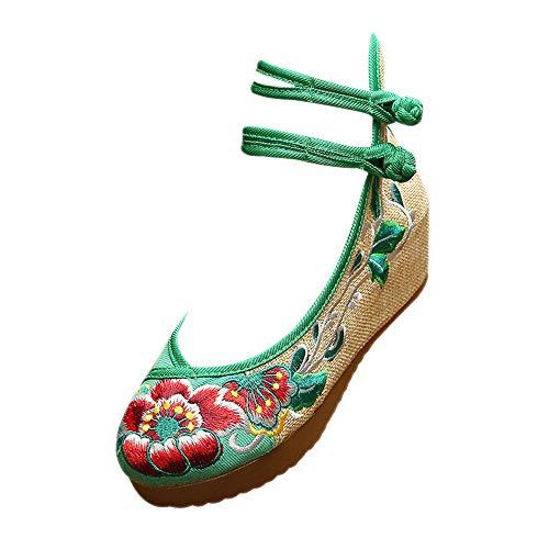BOZEVON Keilschuhe Damen - Alte Peking Hibiscus Bestickt Tuch Schuhe Kleid Damenschuhe,Grün,CN35(Fußlänge:225mm)