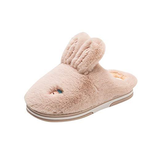 Yuiopmo Indoor Winter warme rutschfeste Hasen-Baumwollpantoffeln Nackte Schnalle Winter Baumwolle Pantoffeln Plüsch Wärme Weiche Hausschuhe