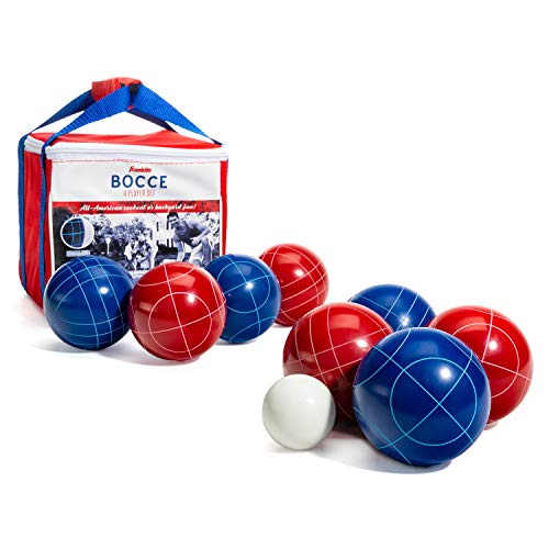 Franklin Sports Bocce Ball Set - 8 All Weather 90mm Bocce Balls, 1 Pallino and Carrying Case - Beach, Backyard Lawn or Outdoor Party Game - American Set