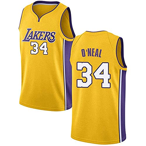 XZWQ NBA Hombre Jersey- Angeles Lakers 34# Shaquille O'neal Unisex Basketball Jerseys Cómodo Bordado De Malla Basketball Jerseys Camiseta Sin Mangas,Amarillo,L