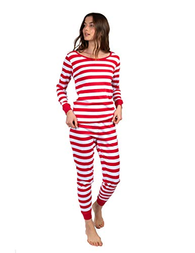 Leveret Womens Pajamas Fitted Striped Christmas 2 Piece Pjs Set 100% Cotton Sleep Pants (Red/White Size Large)
