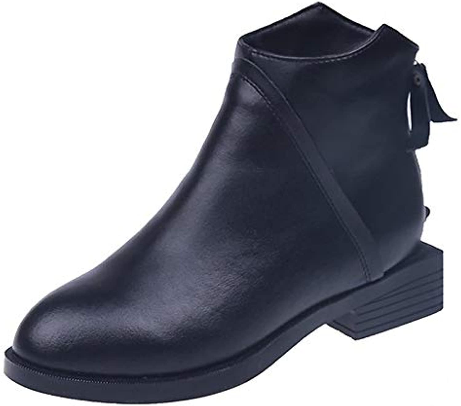 Women's Bootie PU(Polyurethane) Fall & Winter Casual Boots Low Heel Round Toe Booties Ankle Boots Black
