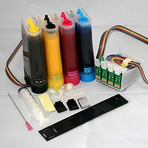 Sublimation CISS Sistema de Tinta Continua para impresoras Epson Workforce WF-7210DTW WF-7710DWF WF-7715DWF WF-7720DTWF con Chip de reinicio automático con Tinta de sublimación Dye no OEM