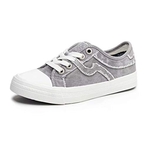 SALT&SEAS Women Adults Canvas Fashion Sneakers Low Top Lace Up Lightweight Flat Breathable Casual Shoes Grey, 5.5