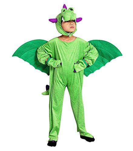 Ikumaal Drachen-Kostüm, SY20 Gr.110-116, für Kinder, Drache Kind Drachen-Kostüme für Fasching Karneval, Kleinkinder-Karnevalskostüme, Kinder-Faschingskostüme, Geburtstags-Geschenk Weihnachts-Geschenk