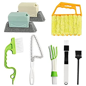 8 Pcs Hand-held Groove Gap Cleaning Tools - Door Window Track Crevice Cleaning Brushes Blind Cleaner Duster Window Magic Cleaning Brush for Shower Door Car Vents Air Conditioner Keyboard Shutter