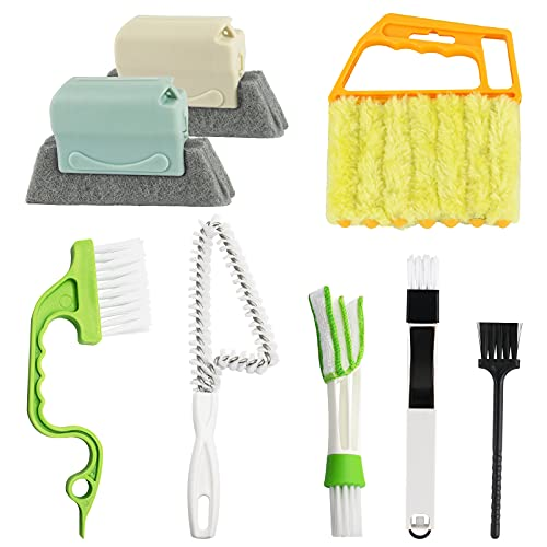 8 Pcs Hand-held Groove Gap Cleaning Tools - Door Window Track Crevice Cleaning Brushes Blind Cleaner Duster, Window Magic Cleaning Brush for Shower Door, Car Vents, Air Conditioner, Keyboard, Shutter