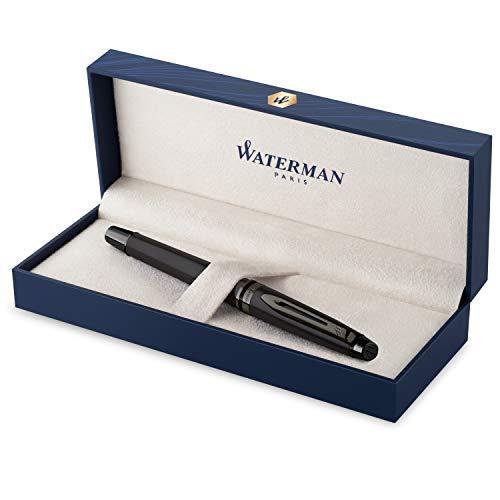Pluma estilográfica Waterman Expert | Lacado en negro metalizado con detalles en rutenio | Plumín mediano de acero inoxidable revestido de PVD | Tinta azul | Con caja de regalo