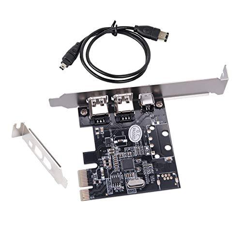 Windows 10用PCIe Firewireカード、IEEE 1394 PCI Expressアダプタコントローラ3ポート(2 x 6ピンおよび1 x 4ピン)、薄型ブラケットとケーブルを備えたWindows 10の場合、1394aケーブル付きWindows 7/8 / Mac OS用1394a PCI-E Firewire 800アダプタ