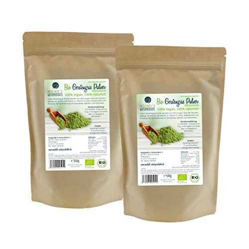 Michel´s Naturprodukte - BIO Gerstengras Pulver, 1Kg (2x500g), Fein Gemahlenes Pulver aus jungen Gerstengras, In Deutschland Hergestellt, Ohne Zusatzstoffe - Vegan, Superfood