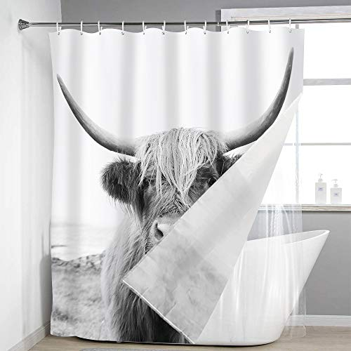 LIGHTINHOME Bull with Liner Shower Curtain Portrait of A Highland Cow Animal Wildlife 12 Pack Plastic Hooks Funny Cute Sketch Milk Waterproof Fabric Modern Fashion Bathroom Decor Set 72x72 Inch