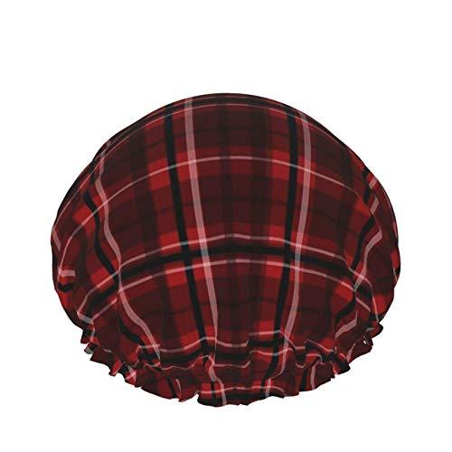 Gorros de ducha a cuadros de búfalo para mujer, doble capa impermeable, protección para el cabello, sombrero de ducha reutilizable