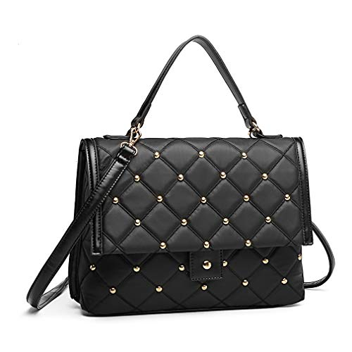 Miss Lulu Handbag Square Format Embroidered Shoulder Bag Elegant Crossbody Bag Clamshell Design Top Handle Bag (Black)
