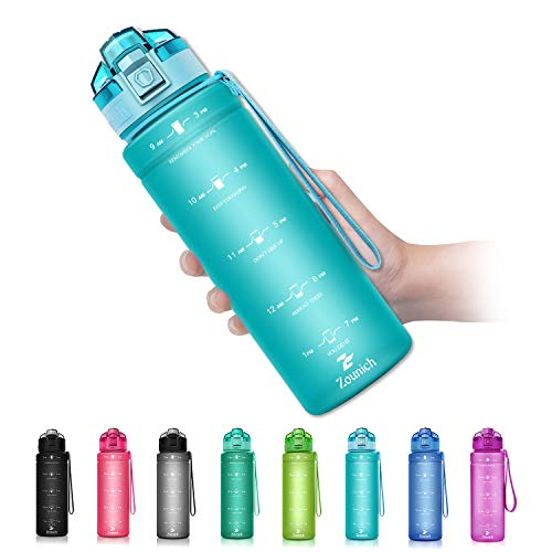 ZOUNICH Botella Agua Deporte, Botella Agua Ninos sin BPA Reutilizable Plastico Tritan - 500 ml / 700 ml / 1 l / 1.2 l, Cantimploras para Te con Filtro, para Infantil, Gimnasio, Bicicleta