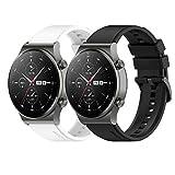 Braleto 22mm Sport Correa de Silicona Correa de Repuesto Ajustable Compatible para Huawei Watch GT 2 Pro (Blanco Negro)