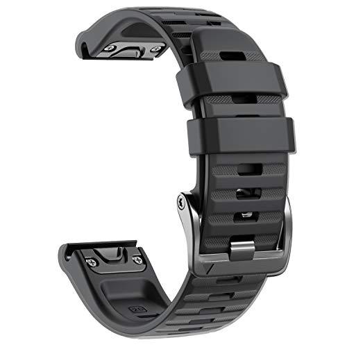 NotoCity Armband für Garmin Fenix 6X /Fenix 6X Pro/Fenix 3 /Fenix 3 HR/Fenix 5X /Fenix 5X Plus, Estrazarmband Quick-Fit 26mm Breite Silikon Uhrenarmband für Garmin, Mehrfache Farben,(Schwarz)