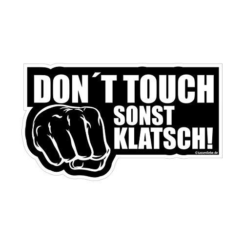 Tassenliebe Aufkleber Don´t Touch sonst klatsch! Autoaufkleber, Sticker, Fun, Lustig, ca.10x6cm