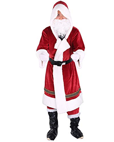 Springcmy 6PCS Christmas Santa Claus Costume Cosplay Props Fancy Adult Men Suit Cosplay Red Outfit Sets Party Outfit (S-Red, XL)