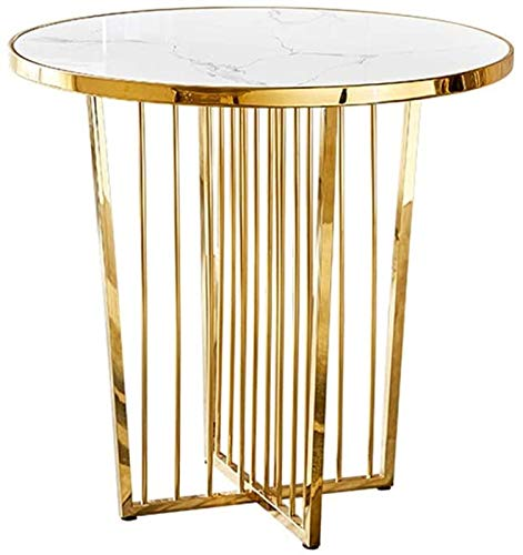 Coffee Table KKY-ENTER Round Nesting in Home,Personality Stainless Steel Base, White Marble Top for Office/Living Room/Small Apartment/Villa (Size : 70×75cm)