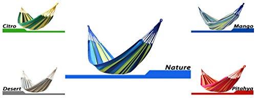 BeachandPool Hängematte XXL im Beutel 200x150 cm waschbar robust Familienhängematte für Garten Camping Freizeit doppel (Nature)