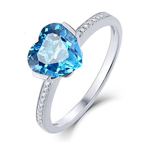 Bishilin Anillo de Compromiso de Mujer Oro 750 Topacio Corazón Azul 1.8Ct Alianzas Alianza Oro Blanco con Diamante Ajuste Cómodo Anillos Mujer Bodas Tamaño: