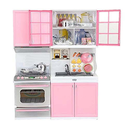 Modern Kids Play Kitchen, Kids Play Kitchen with Toy Accessories Set,Best Chefs Kitchen Playset,Mini Kids Kitchen Pretend Play 丨Cooking Set Cabinet Stove Girls Toy (Pink)