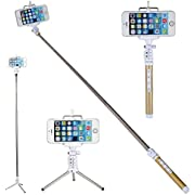 WISETIGER Bluetooth Selfie Stick with Wireless Remote Shutter and Telescopic Tripod for Iphone 6 6 Plus 6s Galaxy HTC IOS Android Gopro(Gold)