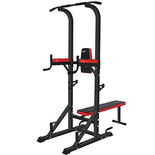 ISE Kraftturm Power Town,Multifunktions Kraftstation mit klappbar Hantelbank, Klimmzugstation, Liegestützgriffe, Dip-Station, Max.120 KG, ideal für Home-Gym (SY-4006)