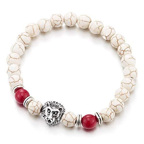 iMETACLII 8MM Blanco Piedras Cuentas Cadena Pulsera de Hombre Mujer, Cabeza de León y Rojo Perla Encantado Colgantes
