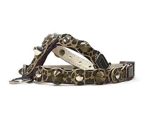 Handmade Schwarz Leder Leopard Muster Hundegeschirr, Leine Optional, Ausgefallen und Individuell Geschirr Design für Mittelgroße Hunde, MS: Hals 22-27 cm, Brust 37-42 cm