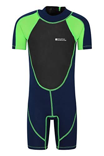 Mountain Warehouse Junior kurzer Kinder-Neoprenanzug -Körper: 2.5mm, Sommer-Nasstaucheranzug, Leichtlauf-Reißverschluss, Flachnähte, Verstellbarer Nacken Grün 3-4 Jahre