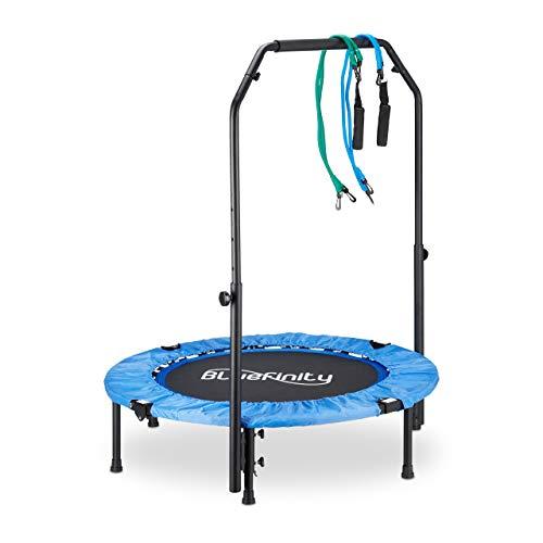 Bluinfinity 10021753 Tappetino Elastico Fitness con Barra Stabilizzatrice, Estensore a Molla e Custodia, 121x102x102 cm, Blu/Nero