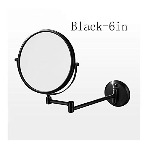 QWET 3X Vergrotings-make-upspiegel voor wandmontage, in hoogte verstelbare, dubbelzijdige spiegel voor badkamermeubels, ronde vorm