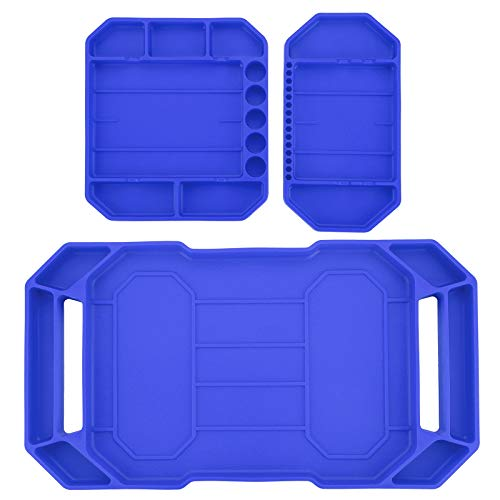 OwnMy Set of 3 Flexible Silicone Tool Trays Non-Slip Large Tool Organizer Tool Storage Tool Mats Grip Tool Mat Tool Holder - Heat Resistant Non-Magnetic Socket Screw Organizer Hardware Tray Mat, Blue