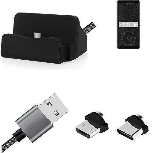 K-S-Trade Base Et Soporte De Charga Chargador Estacion HTC Exodus 1 Conexión Magnética con Un Conector USB Tipo C Y Un Conector Micro USB 3A, 1x
