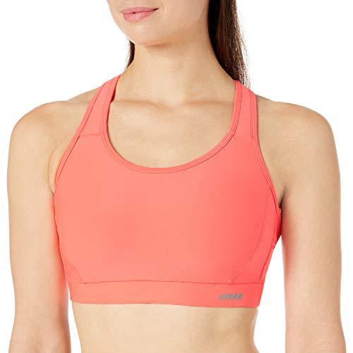 Amazon Essentials Women's Medium-Support Molded-Cup Sports Bra, Neon Coral, Medium