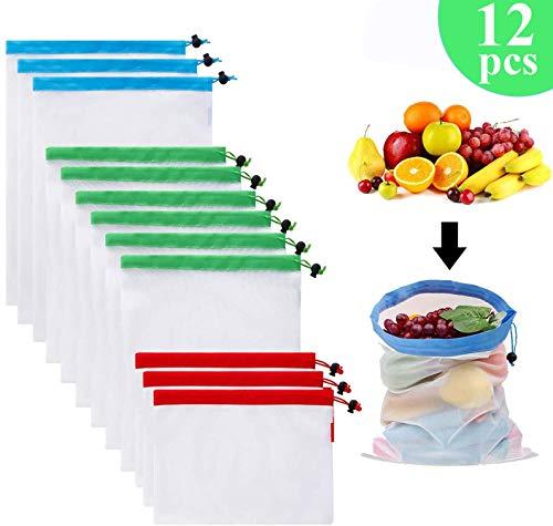 Gudotra 12 pcs Bolsa de Compra Reutilizables Ecológicas Bolsa de Malla para Almacenamiento Fruta Vegetales 3 Tamaños Diversos
