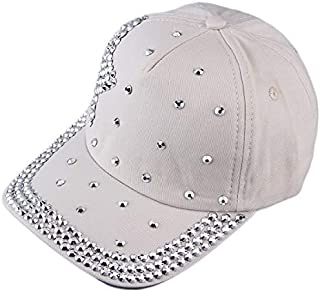 BEESCLOVER Unisex Shining Stars Simulate Diamond Casual Baseball Cap Trucker Hats Adjustable Backing Cotton Black/Rice White/Rose red/Blue