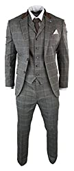 Complete With Blazer, Waistcoat & Trouser (pin brooch included) Many More Styles & Colours Available In Store! Mens 3 Piece Wool Blend Tweed Check Suit Retro Herringbone Tweed Textured Top Quality Fabric Tailored Fit (inbetween slim & regular fit), I...