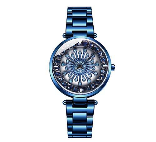 GLEMFOX Womens Quartz horloge 360 ° draaibare wijzerplaat Stijlvolle eenvoudige dames Steel Band Watch armband Large blauw