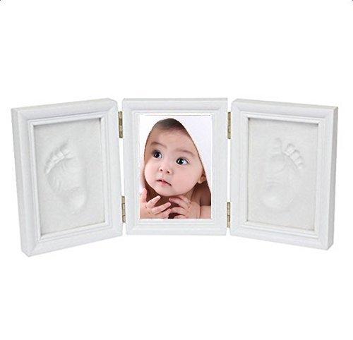 Leisial Cadre de Photo en bois et Argile pour Enregistrer toujours Bébé Empreinte Handprint Bébé Cadeaux de naissance et souvenirs